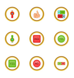 interface button icons set cartoon style vector image