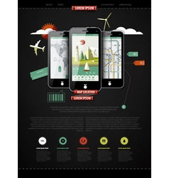 mark up a page with three mobile phones vector image vector image