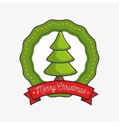 merry christmas label with tree icon vector image