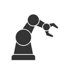 robotic arm black icon vector image vector image