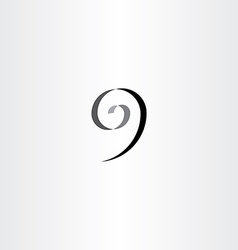 stylized number 9 nine black spiral icon vector image