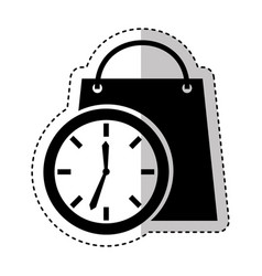 time clock with shopping bag isolated icon vector image vector image