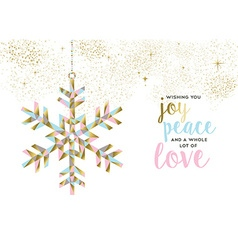 Christmas and new year gold snow decoration design vector image vector image