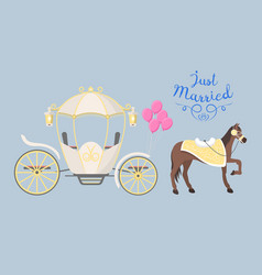 fairy tale vintage carriage decoration with cute vector image