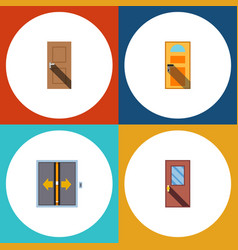 Flat icon approach set of entrance exit door and vector