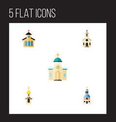 flat icon building set of catholic building vector image