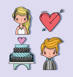Set bried and groom with pastel and heart with vector