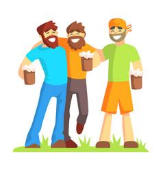 Three friends with bushy beards drinking beer vector
