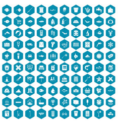 100 fish icons sapphirine violet vector