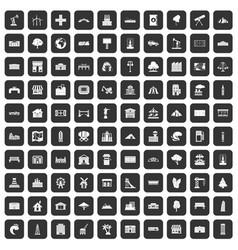 100 landscape element icons set black vector image