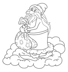 A children coloring bookpage a santa klaus on the vector