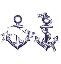 Anchor sign set symbol hand drawn vector