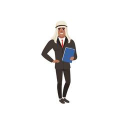 Arabic businessman character in formal wear vector