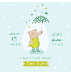 Baby Shower Card - Bear with Umbrella vector image