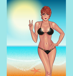 beautiful young woman in black bikini on the vector image vector image