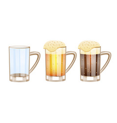 Beer glasses different versions - empty light vector
