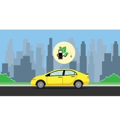 biofuel green with leaf with car on the way vector image