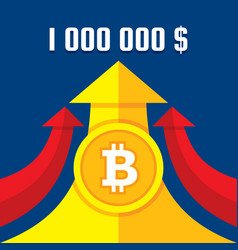 Bitcoin growth up to one million dollars vector