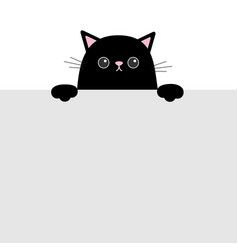 Black funny cat head face hanging on paper board vector