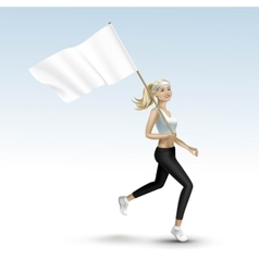Blonde Woman Girl Running Jogging with a Flag vector