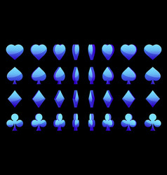 Blue 3d symbols poker cards animation game vector