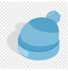 blue knitted hat isometric icon vector image