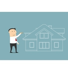 Businessman planning to buy a home vector
