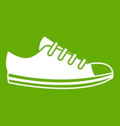 Canvas sneaker icon green vector