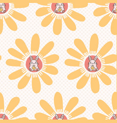 cartoon easter bunny daisies seamless vector image