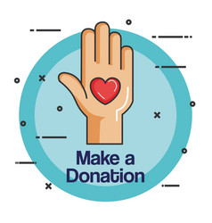 Charity emblem hands holding heart icon vector