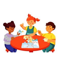 children doing a puzzle - colorful flat design vector image