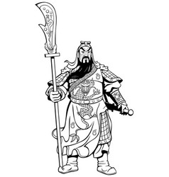 Chinese warrior line art vector