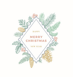 Christmas colorful abstract botanical greetings vector