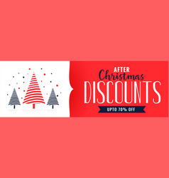 christmas discounts banner design template vector image
