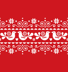 christmas folk art seamless textile pattern vector image