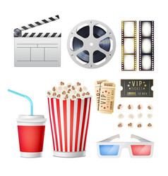 Cinema movie icons set realistic popcorn 3d vector