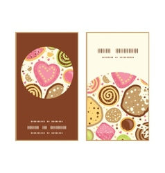 Colorful cookies vertical round frame pattern vector