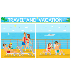 Couples on cruise liner vacation on ship vector