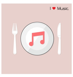 Creative music note sign on disk vector