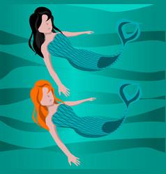 Cute mermaid cartoon vector