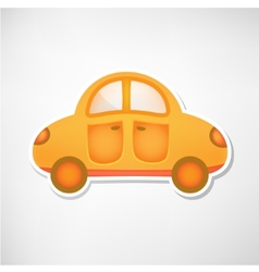 cute orange toy car icon isolated vector image