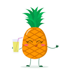 cute pineapple cartoon character holding a glass vector image