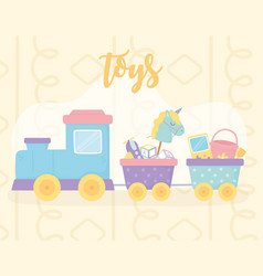 Cute train wagons with horse bucket plane shovel vector