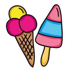 Delicious ice cream in cone and stick vector