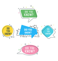 Did you know question on colorful stickers set vector