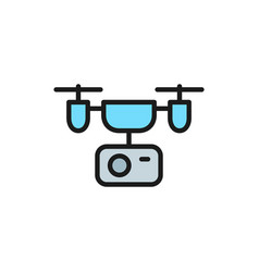 drone with action camera flat color line icon vector image