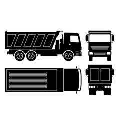 dump truck black icons vector image