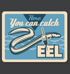 Eel fish fishing retro poster vector