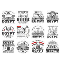Egypt culture history religion and travel icons vector