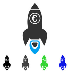 Euro rocket launch flat icon vector